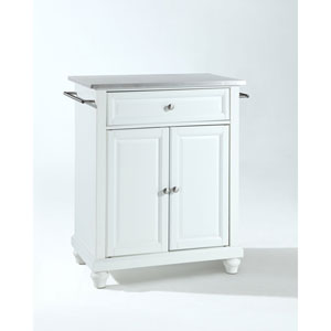 Selby Stainless Steel Top Portable Kitchen Island in White Finish