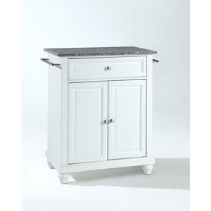 Selby Solid Granite Top Portable Kitchen Island in White Finish