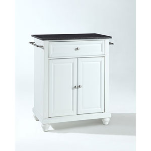 Selby Solid Black Granite Top Portable Kitchen Island in White Finish