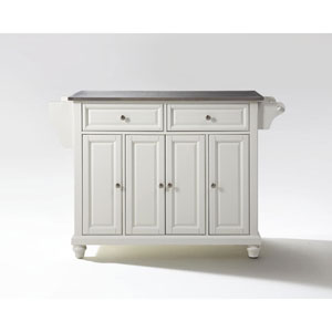 Grace Stainless Steel Top Kitchen Island in White Finish
