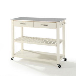 Grace Stainless Steel Top Kitchen Cart/Island in White Finish
