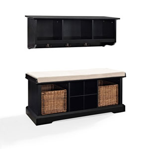 Hayden Black Two Piece Entryway Bench and Shelf Set