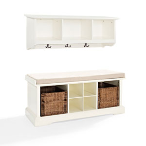 Hayden White Two Piece Entryway Bench and Shelf Set