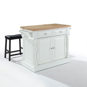 Grace Butcher Block Top Kitchen Island in White Finish with 24-Inch Black Upholstered Saddle Stools