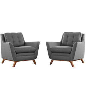 Loring 2 Piece Fabric Living Room Set in Gray