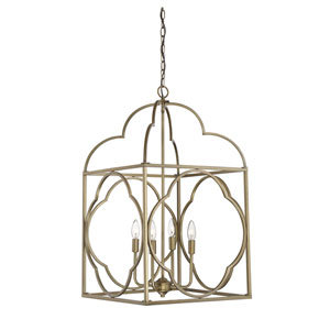 Whittier Natural Brass Six-Light Lantern Pendant