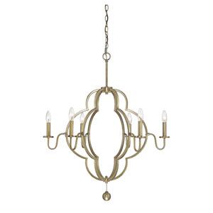 Linden Natural Brass Six-Light Chandelier