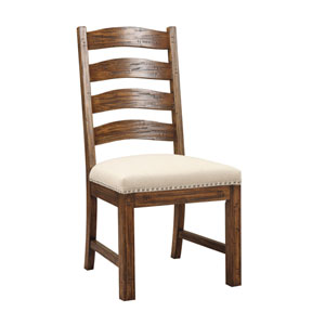 Afton Pine Side Chair Slat Back with Upholstered Seat