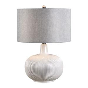 Nicollet White Ribbed Ceramic Table Lamp
