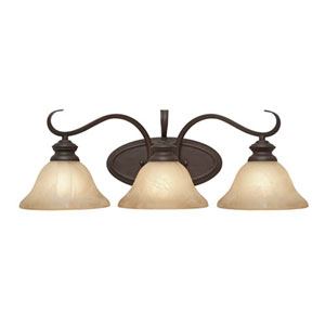 Wellington Rubbed Bronze Three-Light Bath Fixture
