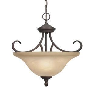 Wellington Rubbed Bronze Three-Light Convertible Semi-Flush Ceiling Light
