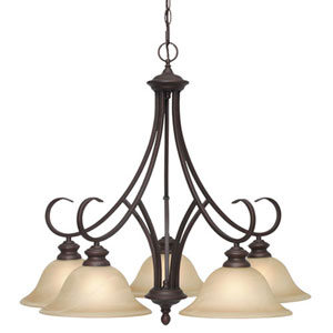 Wellington Rubbed Bronze Five-Light Nook Chandelier