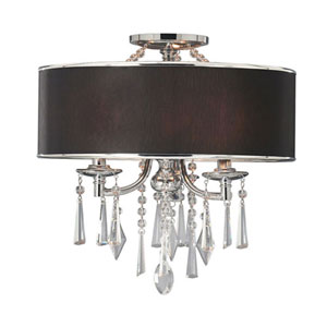 Vivian Chrome Black Three-Light Convertible Semi-Flush Mount with Tuxedo Shade