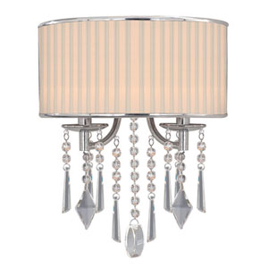 Vivian Chrome Two-Light Wall Sconce with Bridal Veil Shade