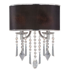 Vivian Chrome Two-Light Wall Sconce with Tuxedo Shade