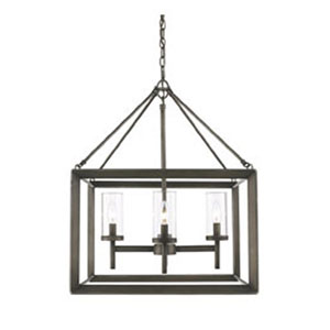 Linden Gunmetal Bronze Four-Light Chandelier with Clear Glass