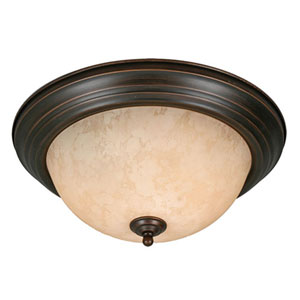 Wellington Rubbed Bronze Two-Light Flush Mount with Tea Stone Glass