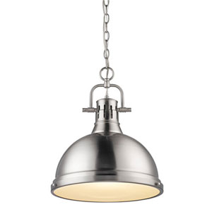 Quinn Pewter 17-Inch One Light Pendant