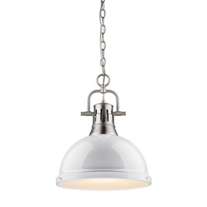 Quinn Pewter 14-Inch One Light Pendant with White Shade