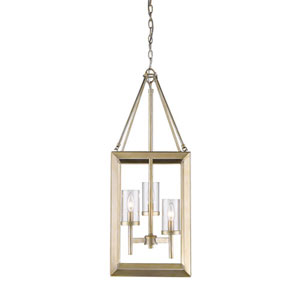 Linden White Gold Three-Light Pendant with Clear Glass Shade