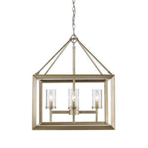 Linden White Gold Four-Light Chandelier with Clear Glass Shade