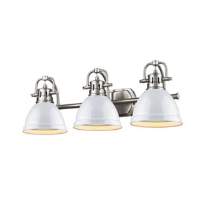 Quinn Pewter Three-Light Vanity Fixture with White Shade