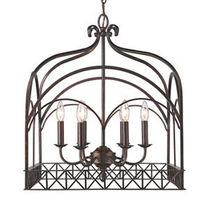 Aster Fired Bronze Six-Light Pendant
