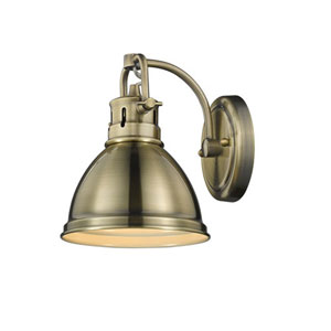 Quinn Aged Brass One-Light Bath Vanity with Aged Brass Shade