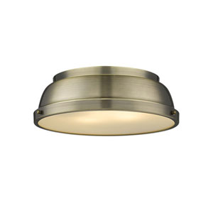 Quinn Aged Brass Two-Light Flush Mount with Aged Brass Shades