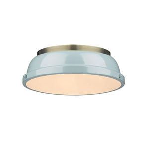 Quinn Aged Brass Two-Light Flush Mount with Seafoam Shades