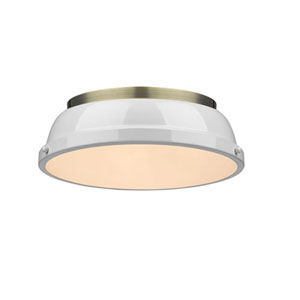 Quinn Aged Brass Two-Light Flush Mount with White Shades