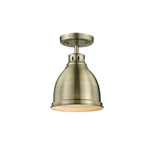 Quinn Aged Brass One-Light Flush Mount with Aged Brass Shade