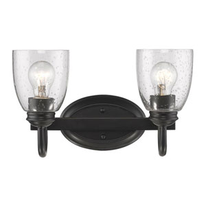 Hayden Black Two-Light Bath Vanity with Seeded Glass