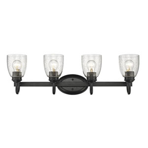 Hayden Black Four-Light Bath Vanity with Seeded Glass
