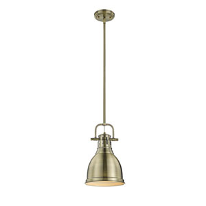 Quinn Aged Brass One-Light Mini Pendant with Aged Brass Shade