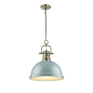 Quinn Aged Brass One-Light Pendant with Seafoam Shade