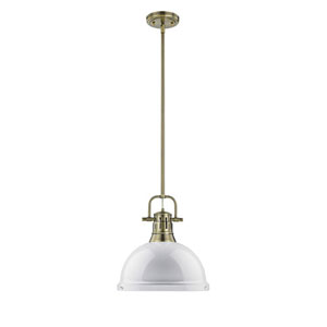 Quinn Aged Brass One-Light Pendant with White Shade