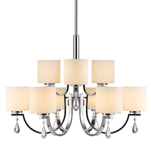 Cooper Chrome Nine-Light Chandelier with Opal Glass