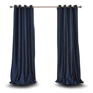 Monroe Navy Blue 108 x 50-Inch Grommet Blackout Faux Silk Taffeta Curtain Single Panel