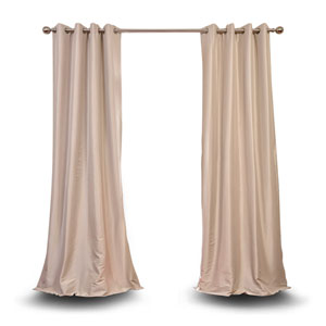 Monroe Antique Beige 96 x 50-Inch Grommet Blackout Faux Silk Taffeta Curtain Single Panel