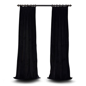 Evelyn Warm Black 96 x 25-Inch Evelyn French Pleated Blackout Velvet Curtain