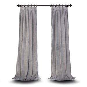 Evelyn Silver Gray 120 x 25-Inch Evelyn French Pleated Blackout Velvet Curtain