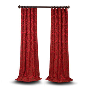 Wellington Red and Bronze 84 x 50 In. Faux Silk Jacquard Single Panel Curtain