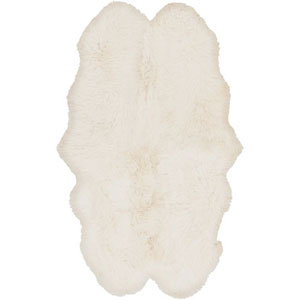 Afton Sheepskin Ivory Rectangular: 4 Ft x 6 Ft Rug