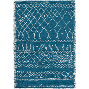 River Station Blue and Neutral Rectangular: 5 Ft. 3-Inch x 7 Ft. 7-Inch Rug