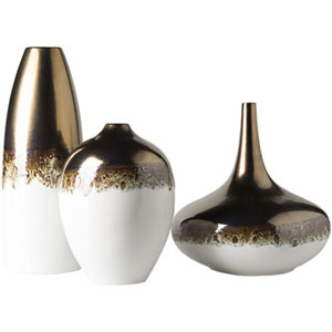 Monroe White and Copper Vase Set