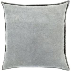 Loring Smooth Velvet Light Gray 20-Inch Pillow with Poly Fill