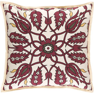 Aster Burgundy and Ivory 18-Inch Pillow with Poly Fill