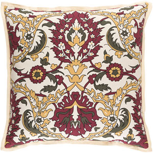 Aster Burgundy 20-Inch Pillow with Poly Fill