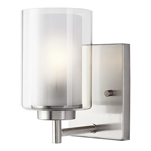 Uptown Brushed Nickel One-Light Energy Star Wall Sconce